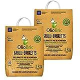 OlioBric Grillbriketts aus Olivenkernen, 6kg ✓ Ohne Rauch ✓ Kein Holz ✓ Keine Funken ✓ Lange Brenndauer ca 4,50 Std. | 100% Recycelte Grillkohle-Briketts für jeden Grill | Umweltfreundliche & rauchfreie Kohle zum Grillen