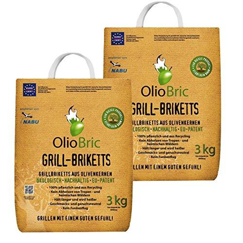 OlioBric Grillbriketts aus Olivenkernen, 6kg ✓ Ohne Rauch ✓ Kein Holz ✓ Keine Funken ✓ Lange Brenndauer ca 4,50 Std. | 100% Recycelte Grillkohle-Briketts für jeden Grill