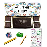 BOGATCHI All The Best Chocolate Gift for Exams, Dark Chocolae Bar + 4pcs Dark Chocolate + Free Good Luck Card + Exam Kit for Kids