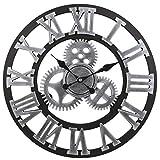 Flower-Xia Vintage Mute Roman 3D Orologio da Parete con Ingranaggi, Retro Orologio da Parete con Ingranaggi Decorativi per la Decorazione della Cucina di Casa e Soggiorno (Argento, 50CM)