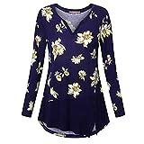 VEMOW Sommer Herbst Elegant Damen Oberteil Langarm O Neck Printed Flared Floral Beiläufig Täglich Geschäft Trainieren Tops Tunika T-Shirt Bluse Pulli(A2-Blau, EU-50/CN-4XL)