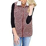 IZHH Damen Weste Mode Weste Winter Warm Outwear Lässig Reißverschluss Sherpa Jacke Winter Warm Komfortable Stehen Weste Weste(Rot,XXX-Large)