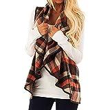 BaZhaHei Womens Vest Coat Plaid Sleeveless Vest Tank Top Lapel Open Front Cardigan Sherpa Jacket with Pockets V-Neck Long Cardigan Coat