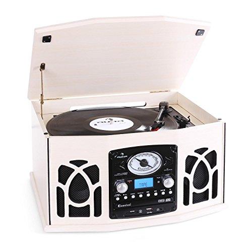 auna NR-620 Impianto Stereo Hi-Fi multifunzione Design anni ´50 (giradischi, lettore CD, USB, telecomando) - legno crema