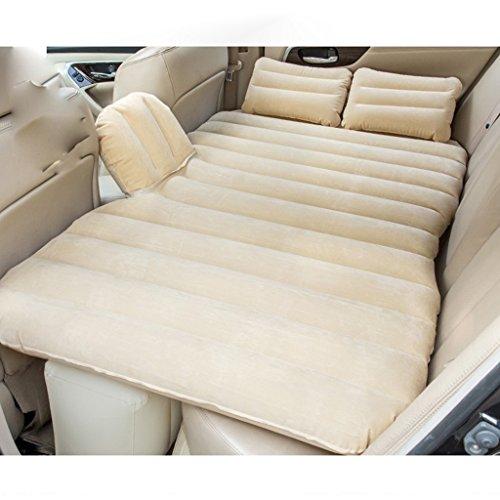 JIBO Tragbare Auto-Aufblasbare Bett-Erwachsene Matratzen-Hintere Reise-Bett-Spalte Mit Dem Sperren-Streifen-Auto-Universaltreibendes Nicht Für Den Straßenverkehr Aufblasbares Bett,Beige (Hintere Isolierung)