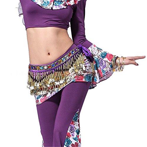 Danse du ventre costume Velvet Hip écharpe jupe Hip écharpe With 3 Rangées Gold Coins Colorful Gem Ceinture purple