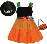 Sunny Fashion Robe Fille Halloween Bonbons Citrouille Sac à Main Orange Noir 6 Ans