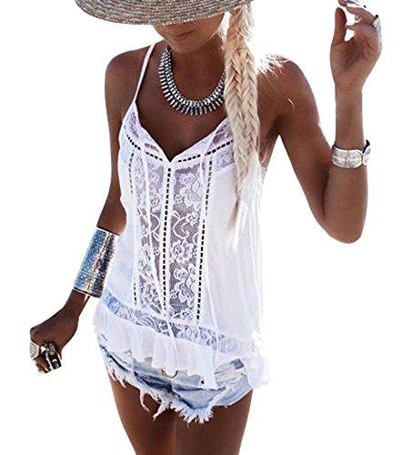 Mangotree Oberteile Boho T-Shirt Damen Spitze Häkeln Hippie Träger Weste Sheer Chiffon Bluse Ärmellos Tops (XL: 40/42, Weiß) (Spitzen-top Ärmelloses)