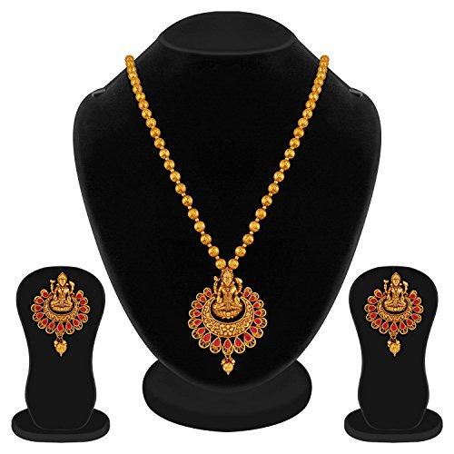 Apara Ruby Laxmi Temple Jewellery Necklace Set for Women