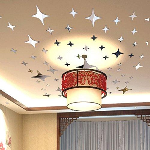 Acryl 43pcs 3D Wandaufkleber Twinkle Sterne Spiegel Wandaufkleber Decke Dekoration Aufkleber DIY Spiegeleffekt Home Decor, Silber