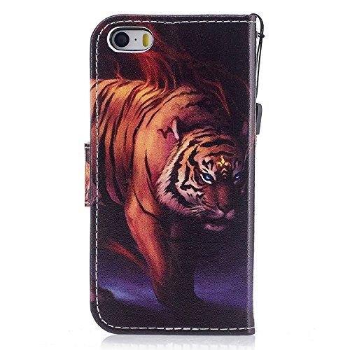 Linvei PU Leder Flip Case iPhone SE 5 5S Tasche,Bunte Muster Design/mit Kartenfach und Ständerfunktion-Karikatur Einhorn Muster Tigermuster