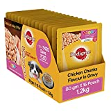 #10: Pedigree Gravy Puppy Dog Food Chicken chunks in gravy, 80 g (Pack of 15)