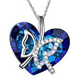 ♥Muttertagsgeschenk♥ Schmetterling Kette Damen mit Kristallen von SWAROVSKI Steinen Herz Blau Halskette mit Herz Anhänger Muttertagsgeschenk Geburtstagsgeschenke Weihnachtsgeschenke Valentinstag gesc