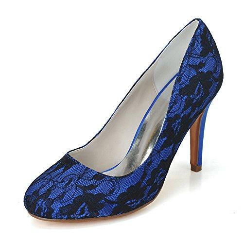 Merletto semplice del sandalo delle pompe del tallone delle donne Blue