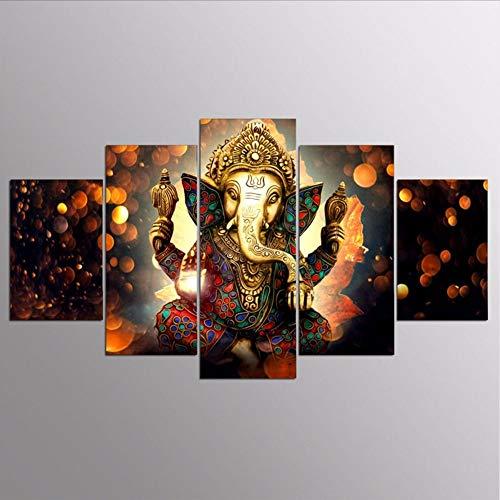 LTTGG frameless Leinwand Malerei Wandkunst Wohnkultur Für Wohnzimmer HD Druckt 5 Stücke Elefanten Stamm Gott Modular Poster a Bilder