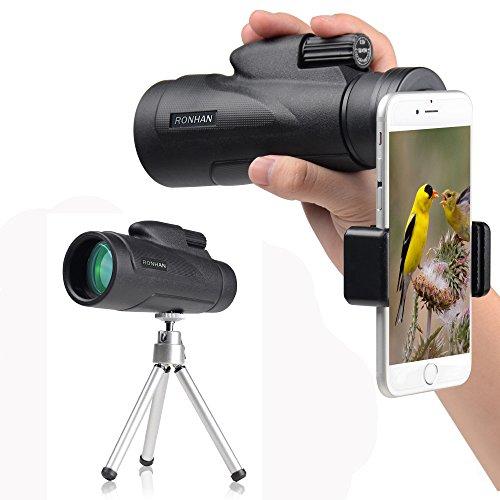 Monokular 12x 50High Powered Monokulare Scope Teleskop mit Quick Smartphone Adapter und Stativ–wasserdicht FMC beschlagsfrei Objektiv und BaK4-Prisma für die Vogelbeobachtung Wildlife secenery