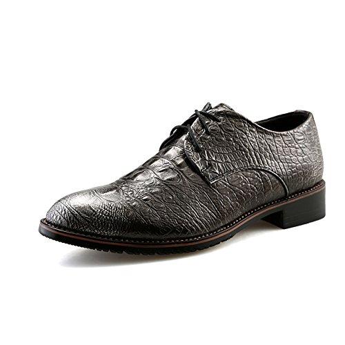 Ji Yun Outdoor-Schuhe Herren Classic Business Oxford Lässige New Crocodile British Pointy Belt Formelle Schuhe (Color : Silber, Größe : 43 EU)