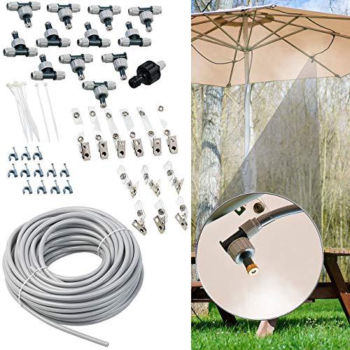 Royal Gardineer Wassernebler: Wasser-Zerstäuber-Set mit 20-m-Schlauch und 12 beweglichen Metalldüsen (Sprühdüsen) -