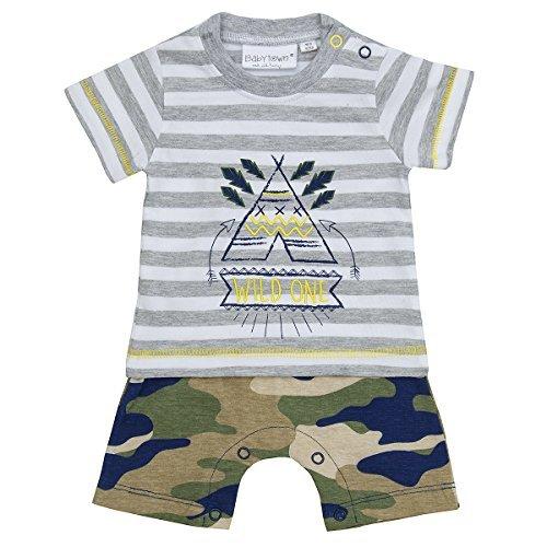 Baby Jungen Tier Safari Dschungel Wild Tarnmuster Mock T-Shirt Shorts 2-tlg Strampler Set - Camo, 6-9 Monate