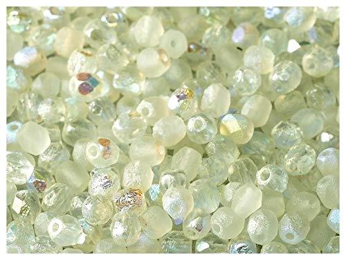 100 Stück Tschechische facettiert Glasperlen Fire-Polished Rund 4mm, Etched Crystal/Green Rainbow - Feuer Tschechische Polnischen Glasperlen 4mm