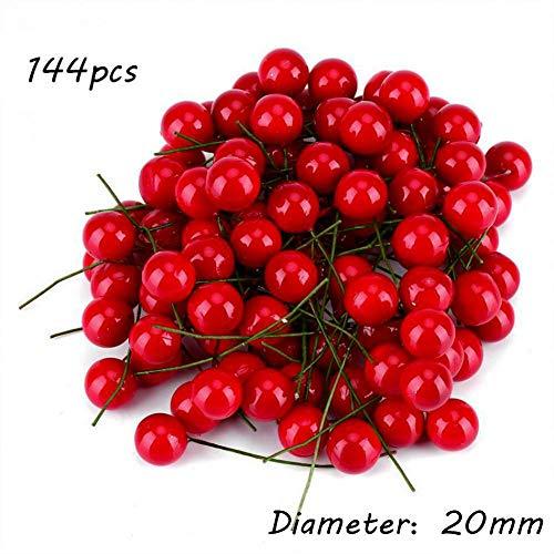 Balai 144 pezzi di bacca di agrifoglio artificiale rossa, accessori per gioielli albero di natale fai-da-te frutta rossa 6 dimensioni disponibili