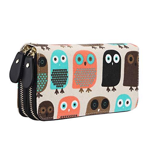 Geldbörse Damen groß viele Fächer Canvas Geldbeutel Eule Portemonnaie mit Reißverschlüsse (Eule)