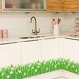 Wandtattoo Grünes Gras & White Flowers Wand Aufkleber Dekorative Abnehmbare Wandsticker DIY Vinyl Wandtattoo Machen Frisch Aussehende Wand Deko für Kinderzimmer, Wohnzimmer, Schlafzimmer,Bad,Baseboard ,Flur, Küche,Garderobe