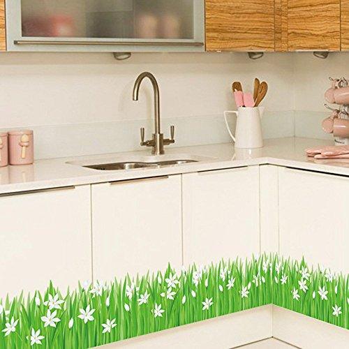 ufengke home Pegatinas de Pared Hierba Verde y Flores Blancas Decorativo Extraíble DIY Vinilo Pared Calcomanías Haga un Mural de Aspecto Fresco en la Sala de Estar, Dormitorio, Baño, Zócalo