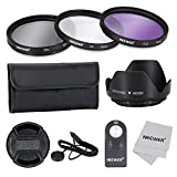 Neewer-Filtro 52 mm per lenti con Kit accessori e ML-L3 per telecomando Wireless IR NIKON D7100/D7000/D5200/D5100/D5000 D3000, D3300, D3200 e D90 D80 DSLR, Kit con anti-Kit di filtri (UV, CPL, FLD), custodia per il trasporto-Paraluce a fiore centrale con cappuccio Keeper Leash panno di pulizia in microfibra, ML-L3-Telecomando Wireless IR