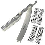 Rasoir Rasoir Tondeuse cheveux Effiler Coiffure Cheveux Peigne rasoir en acier inoxydable, Coiffeur, coiffure Peigne rasoir, plus + 3(thr8Argent)