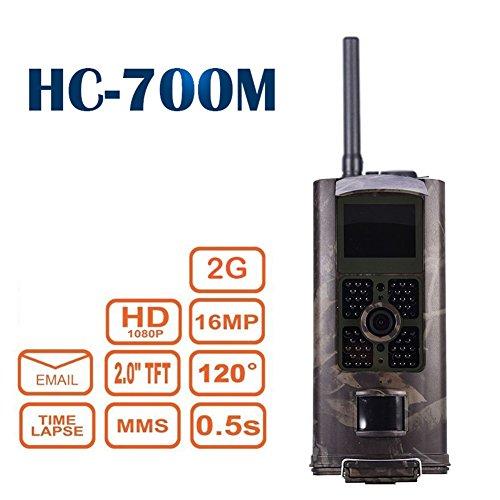 hc-700m Jagd Trail Kamera 16MP HD 1080P Infrarot-Nachtsicht Wildlife Kamera Zeitraffer 5,1cm Farbe LCD Display 2G SMS MMS SMTP Jagd Pfadfinder Überwachungskamera (Bewegungs-sensor-trail Cam)