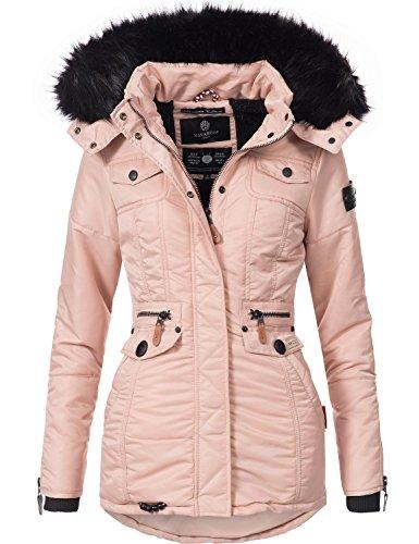 Navahoo Damen Winter-Jacke Winter-Mantel Steppmantel Schätzchen (vegan hergestellt) Rosa Gr. XL