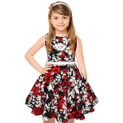 Hbbmagic Vintage Girls Cotton Dresses With Belt 1950's Sleeveless Round Neck Polka Dot Floral Print For Party (Girl's 11-12,red)