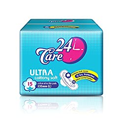 24Care Ultra Cottony Soft L 235mm Sanitary Napkins Pads For Women (15 pcs)