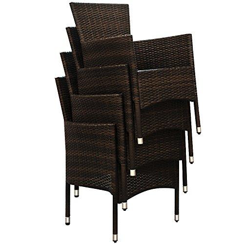 Deuba® Poly Rattan Sitzgruppe 8+1 Braun | 8 stapelbare Stühle | 7cm dicke Sitzauflagen Creme | wetterfestes Polyrattan [ Modell- & Farbauswahl 4+1 / 6+1 / 8+1 ] - Gartenmöbel Gartenset Lounge Sitzgarnitur Essgruppe Set - 3