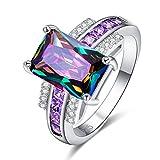 YAZILIND Platinum Rectangle Colorful Cubic Zirconia Estilo Simple Rhinestone Wedding Eternity Love Anillo de la joyería para Las Mujeres Niñas Talla 16,5
