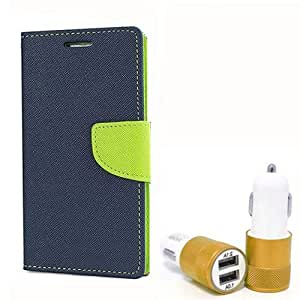 Aart Fancy Diary Card Wallet Flip Case Back Cover For Motorola Moto G - (Blue) + Dual ports USB car Charger With Ultra Power Technolgy by Aart Store.