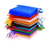AKORD Wedding Favour Jewellery Pouches, Organza, Multi-Colour, 100-Piece