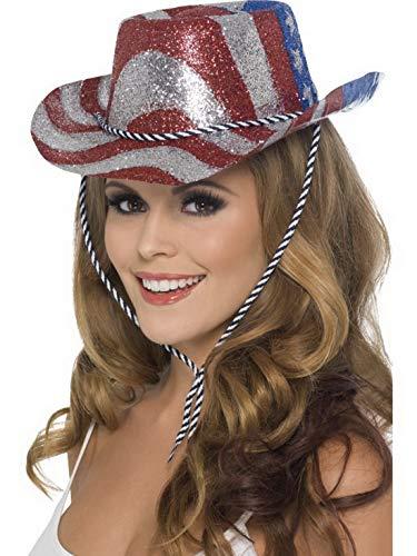 Luxuspiraten - Kostüm Accessoires Zubehör Damen Herren Glitzer Cowboy Cowgirl Hut im American Flag Style, perfekt für Karneval, Fasching und Fastnacht, Rot