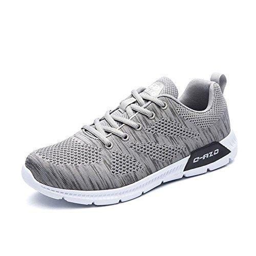 MUOU Laufschuhe Herren Schuhe Sportschuhe Freizeitschuhe Sommer Atmungsaktive Lace-Up Wohnungen Fashion Sneaker Light Männlich Schuhe (43, Grau) (Sneaker-speicher-fall)