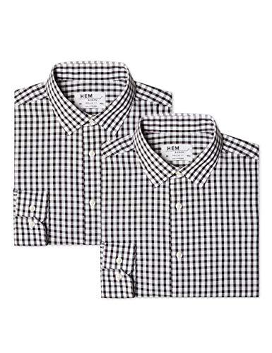 Hem & Seam Herren Businesshemd 2 Pack Regular Fit Checked, 2, Schwarz (Block Check Black / Block Check Black), 60 (Herstellergröße: 18) - Block Check