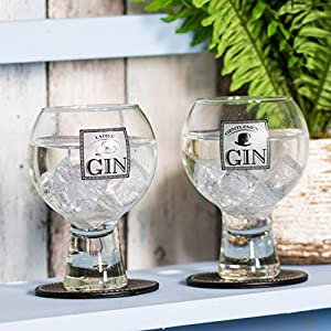 ProdBuyLimited Damen-& Gentlemen 's Glas Gin Luftballons/Gin & Tonic Gläser (gleich Mischung aus Designs), durchsichtig, 9.5cm (DIA) x 14.5cm (H)