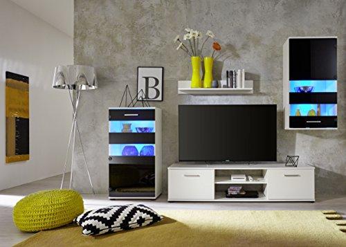 trendteam 1573-001-02 Wohnwand Weiß,  Klarglas Schwarz Siebdruck, BxHxT 222x177x40 cm - 4