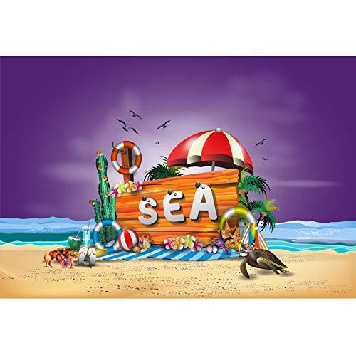 OERJU 1,5x1m Strand Party Hintergrund Meer Tafel Strand Sonnenschirm Rettungsring Ozean Möwe Hintergrund Kostümparty Banner Urlaubs Party Videoprodukt Porträt Fotografie Requisiten