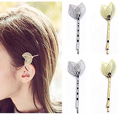 Qtmy 4pcs en métal creux Laisse Pique à cheveux Pinces à cheveux Accessoires Cheveux