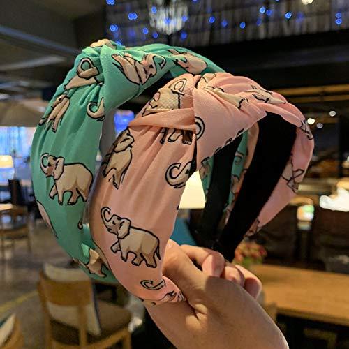 Homeofying Netter Elefant Print Twist Geknotete Haarband Frauen Breites Tuch Stirnband Headwear Stirnband Für Frauen Grün -