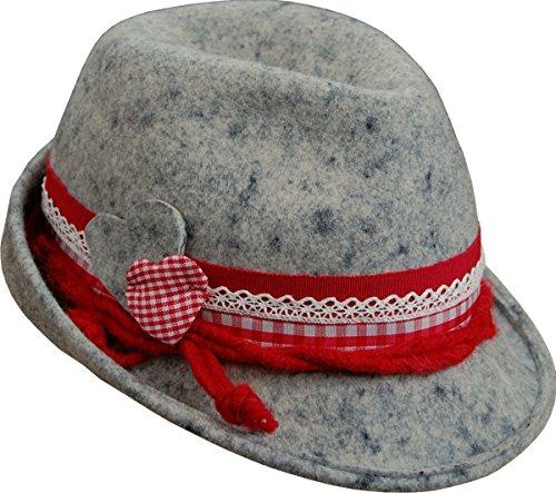 Damen Trachten Filzhut Rita mit Bordüre, Farben:grau;Hutgröße:56