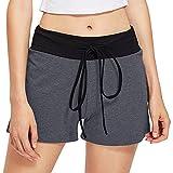 FNKDOR Damen Shorts Stoff Baumwolle Hot Pants mit Gummizug Kurz Hose Beach Sportshorts (S, Grau)