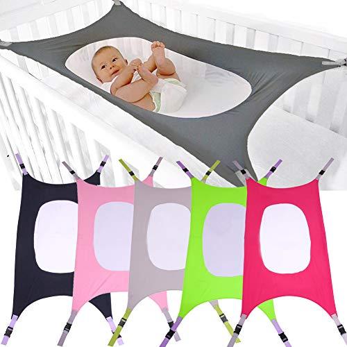 Baby Kids Folding Crib Hammock, Printed Detachable Newborn Infant Baby Safety Hammock Portable Swing Bed Garden Outdoor Hanging Bed(104 * 76,Green) Behavetw