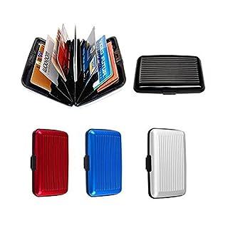 Vinallo 4 Pcs Waterproof Business ID Credit Card Wallet Holder Aluminum Metal Pocket Case Box